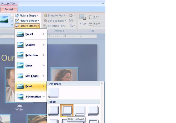 Picture effects menu