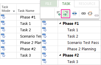 A task list with summary tasks and subtasks in the Gantt Chart