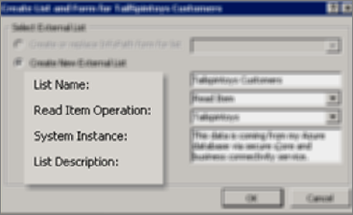 The Create List and Form dialog with the selection made to create an External List, with all four fields filled out.
