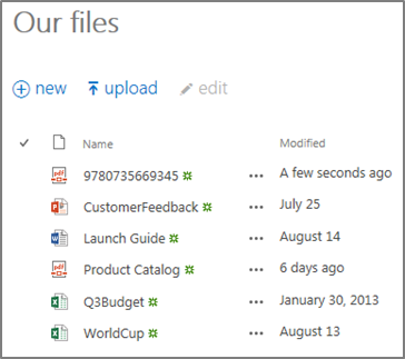 OneDrive for Business Our Files view