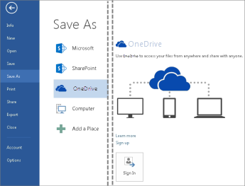 Saving a file to OneDrive