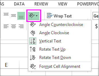 rotate or align cell data in excel 2016 for windows excel. Black Bedroom Furniture Sets. Home Design Ideas