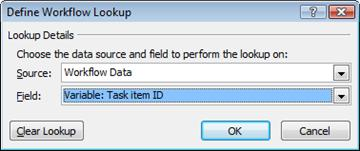 Lookup to a workflow variable named Task item ID