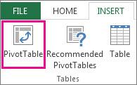 PivotTable button on the Insert tab
