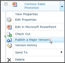 """Document drop-down box in a SharePoint library. """"Publish a major version"""" is highlighted."""