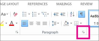 Paragraph dialog box launcher