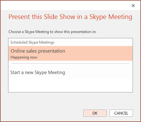 Shows the present online dialog in PowerPoint