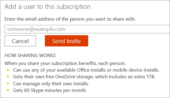 "Screen shot of the ""Add a user to this subscription"" dialog box."