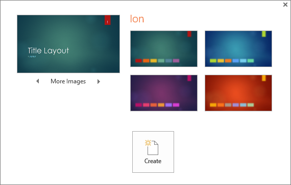 Shows Theme color variation options in PowerPoint