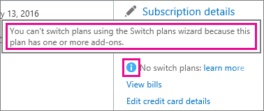 Viewing the no switch plans message in Office 365 for business.