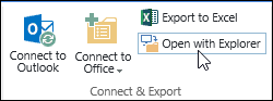Open with Explorer command on the Library tab of the ribbon