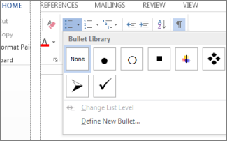 Bullet Library opened from Bullets button in the Paragraph group on the Home tab