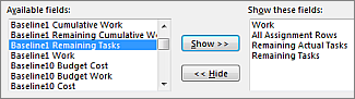 Detail Styles dialog box, Available fields area