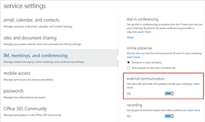 Turn on external communications on the service settings screen