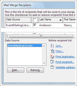 Mail merge recipients list options