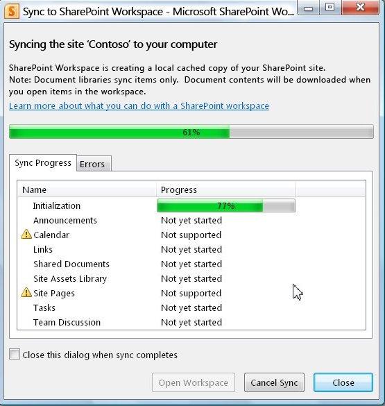 Sync to Computer progress window