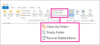 Empty Folder command on the ribbon
