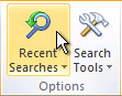 Recent Searches command on the ribbon