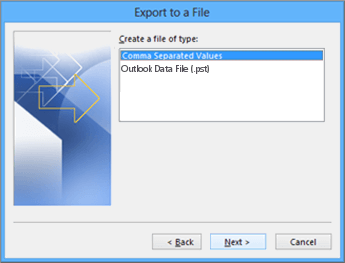 Outlook Export Wizard - Choose CSV file