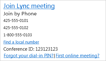 Screenshot of meeting invitation