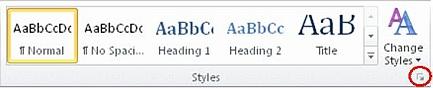 styles dialog box launcher