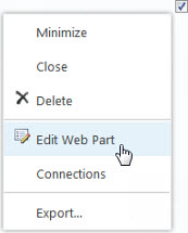 Edit Parts on web page
