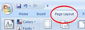 Page Layout tab on Ribbon