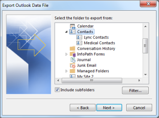 Select a folder to export