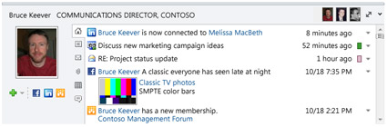 The Outlook Social Connector's People Pane.