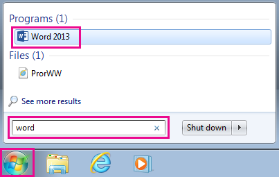 Search for Office apps in Windows 7