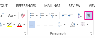 The Show/Hide command on the Home tab in Word 2013.
