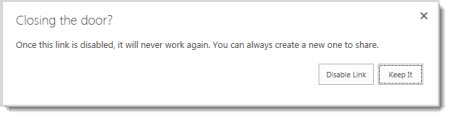 Dialog box asking you if you want to disable a guest link for a document that has been shared so that it will not work anymore.