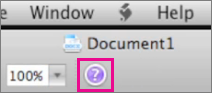 Click the question mark to open Mac Office Help