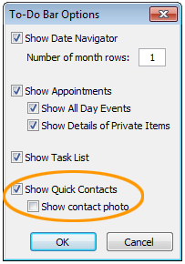 Show Lync Quick Contacts in Outlook 2010