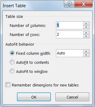 The insert table dialog gives you extra control over how your table looks.