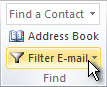 Filter E-mail command on the ribbon