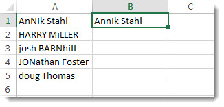 List of mistyped names in colulmn A, and a name in proper case in cell B1
