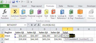 Using AutoSum to quickly add a row of data