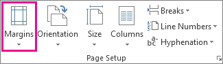 Margins on the Page Layout tab