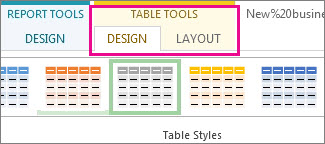 Table Styles group on the Table Tools Design tab