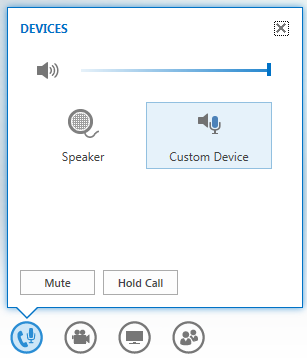 screen shot of the options that display when hovering on the mic button