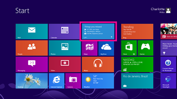 Screenshot of the windows start screen with status updates displayed on the highlighted lync tile.