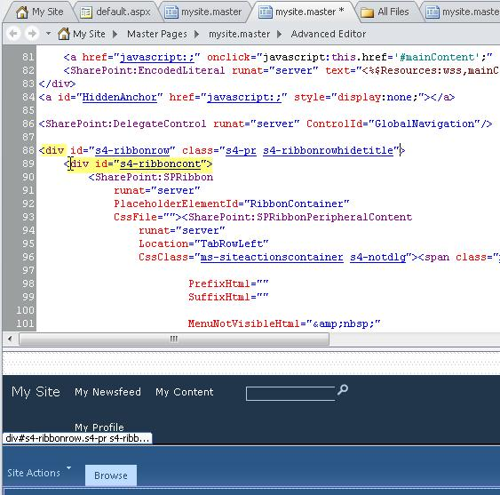 Using Div tags when customizing the My Site master page