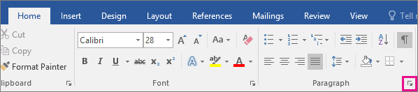 The arrow to open the Paragraph dialog box is highlighted on the Home tab.