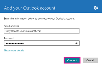 Windows 8 Mail Add your Outlook account page