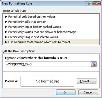 Formula in New Formatting Rule dialog box