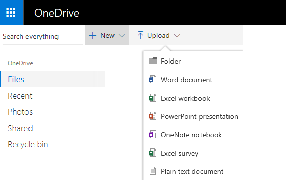 Screenshot of creating a document from OneDrive.com
