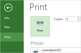 Print button and print options in the backstage
