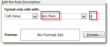 Edit conditional formatting rule box