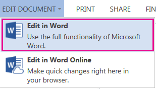 Screenshot of Word Online with Edit in Word selected